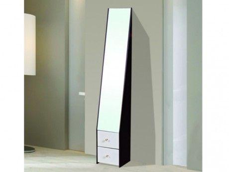 VENTE-UNIQUE Miroir sur pied avec rangements KETTY - H.159 cm - Noir