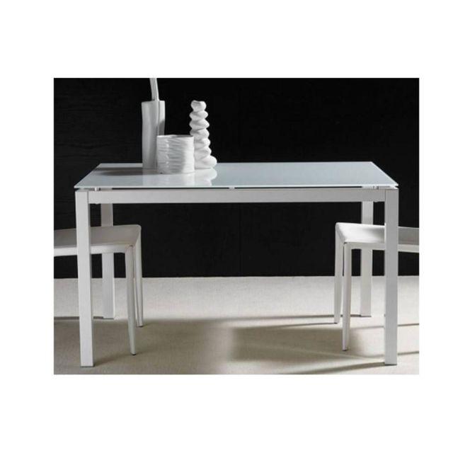 Inside 75 Table repas extensible Majestic structure aluminium laqué blanc 130 x 80 cm en verre blanc