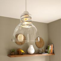 Lussiol - Suspension cloche en verre transparent et insert en métal diamètre 25cm Studio