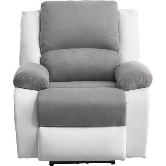 No Name Fauteuil Relax Fauteuil relaxation Electrique - Simili Blanc et tissu gris - L 88 x P 93 x H 96 cm