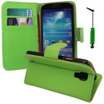 Vcomp - Housse Coque Etui portefeuille Support Video Livre rabat cuir Pu pour Samsung Galaxy S4 mini i9190/ S4 mini plus I9195I/ i9192/ i9195/ i9197 + mini stylet - Vert