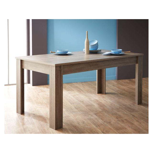 HABITAT ET JARDIN Table repas Steen - 170 x 90 x 77 cm - Chêne foncé