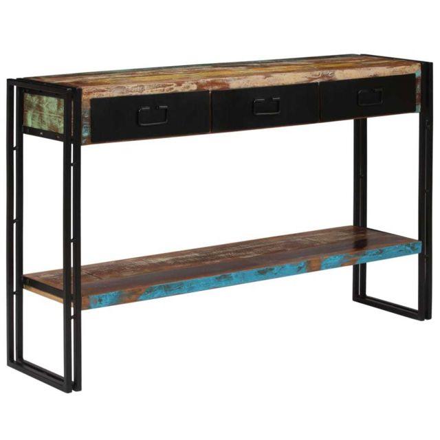 Joli Consoles ligne Sanaa Table console Bois de récupération massif 120 x 30 x 76 cm