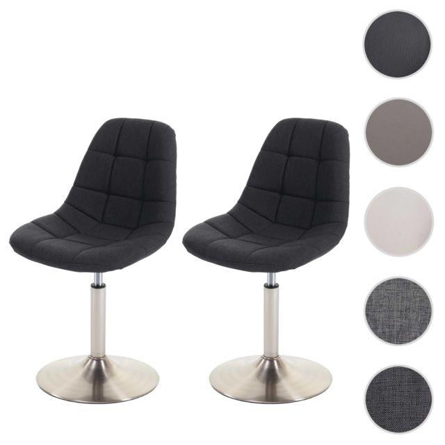 crème 2x chaise de salle à manger HWC-A60 oscillant ~ similicuir