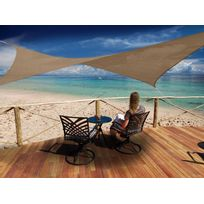JARDIDECO - Voile d'ombrage carrée 3,60 x 3,60 m - Austral - Brun havane