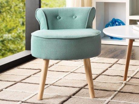 Petit fauteuil crapaud SAVEA en tissu - Vert d'eau