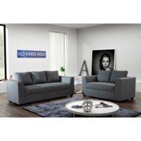Modern Sofa - Canapé Julia 3+2 Tissu gris anthracite