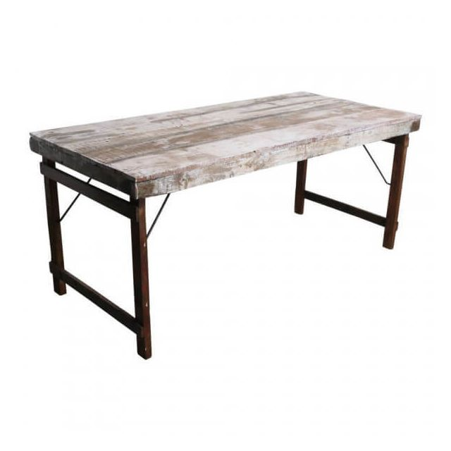 Mathi Design Vintage- Table pliante bois blanc