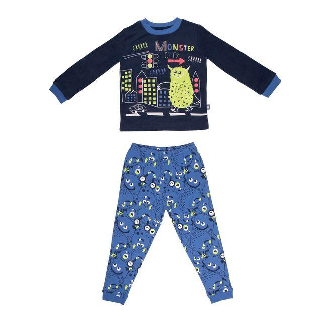 petit beguin pyjama gar on manches longues monster city couleur bleu longueur des manches. Black Bedroom Furniture Sets. Home Design Ideas