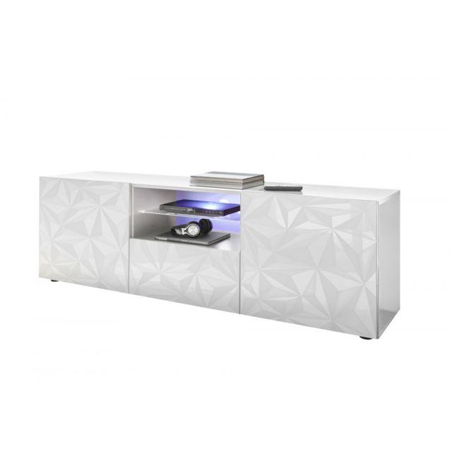 Subleem Base Tv deux portes 1 tiroir Vione blanc laqué brillant