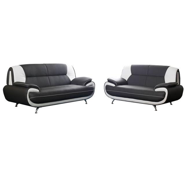 db666b52597ba5 COMFORIUM - Ensemble de canapé 3+2 simili cuir noir et blanc design ...