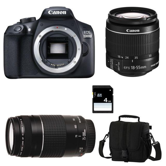 Canon Eos 1300D + Ef-s 18-55mm f/3-5-5.6 Is Ii + Ef 75-300mm f/4.0-5.6 Iii Garanti 3 ans + Sac + Carte Sd 4Go