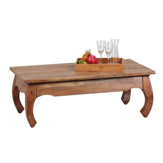 Comforium Table basse 110 x 60 cm en bois massif d'acacia design oriental