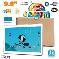 Yonis - Tablette 4G 9.6 pouces Android 5.1 Dual Sim Octa Core Gps 32Go Or