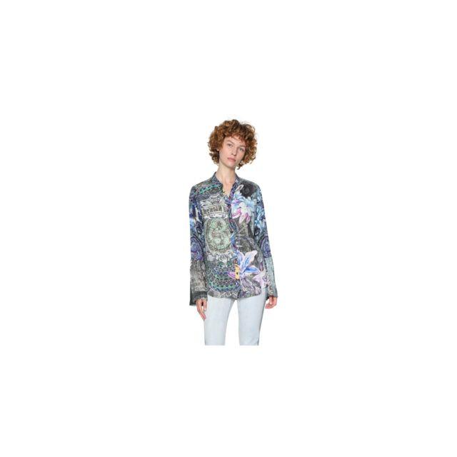 acbd8447e2482 Desigual - Chemise Femme Canaf Bleu 18swcw84 - Taille - Xs - pas cher Achat    Vente Chemise femme - RueDuCommerce
