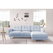 Bobochic - Oslo - Canapé d'angle droit - Bleu poudré - 225x147x86cm