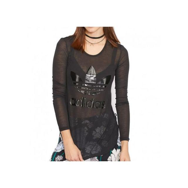 Adidas originals Tee shirt Transparent Noir Femme Adidas
