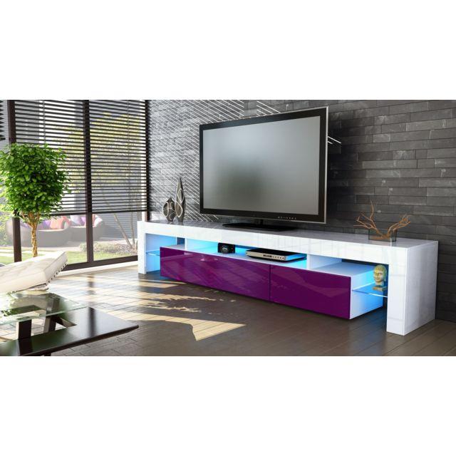 Mpc Meuble Tv Blanc Et Mure 189 Cm Avec Led Pas Cher Achat
