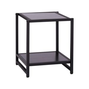 homcom table d 39 appoint bout de canap carr style industriel tag re de rangement 38l x 38l x. Black Bedroom Furniture Sets. Home Design Ideas