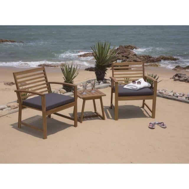 Salon De Jardin - Ensemble Table Chaise Fauteuil De Jardin Salon de jardin  en bois d\'acacia Fsc 2 personnes Loma Bois et coussins gris