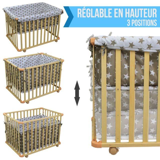 MONSIEUR BEBE - Parc bébé évolutif 4 côtés en bois + tour de parc