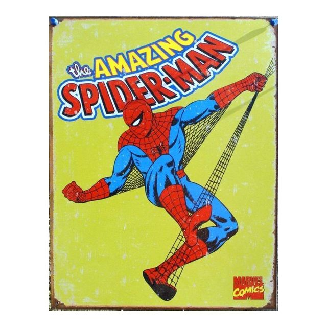 Universel Plaque super hero spiderman sur fond jaune amazing usa