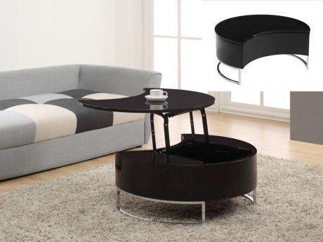 Vente-unique - Table basse Alanis - Plateau relevable - Laqué noir   pieds  chromés f771e3295743