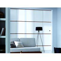 Madecostore - Panneau japonais tamisant polyester blanc armature bois 45x260cm Arigato