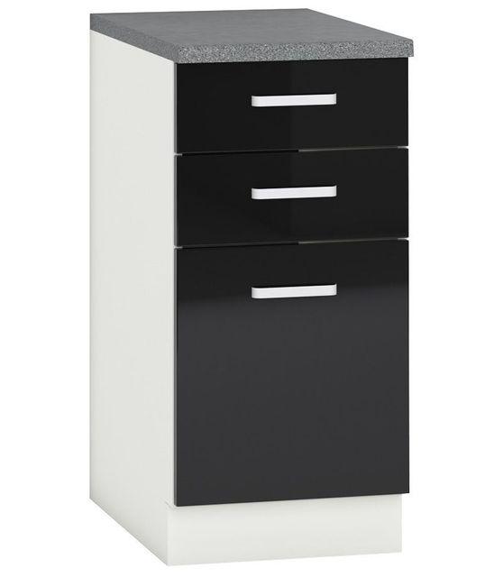 Comforium Meuble bas de cuisine design 40 cm avec 1 porte et 2 tiroirs coloris blanc mat et noir laqué