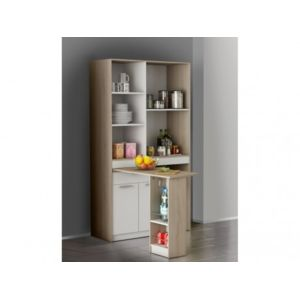 marque generique buffet de cuisine bailey table pivotante blanc ch ne 100cm x 182cm x. Black Bedroom Furniture Sets. Home Design Ideas