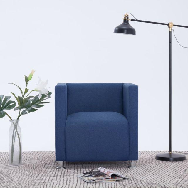 Moderne Fauteuils et chaises ligne Varsovie Fauteuil cube Bleu Tissu