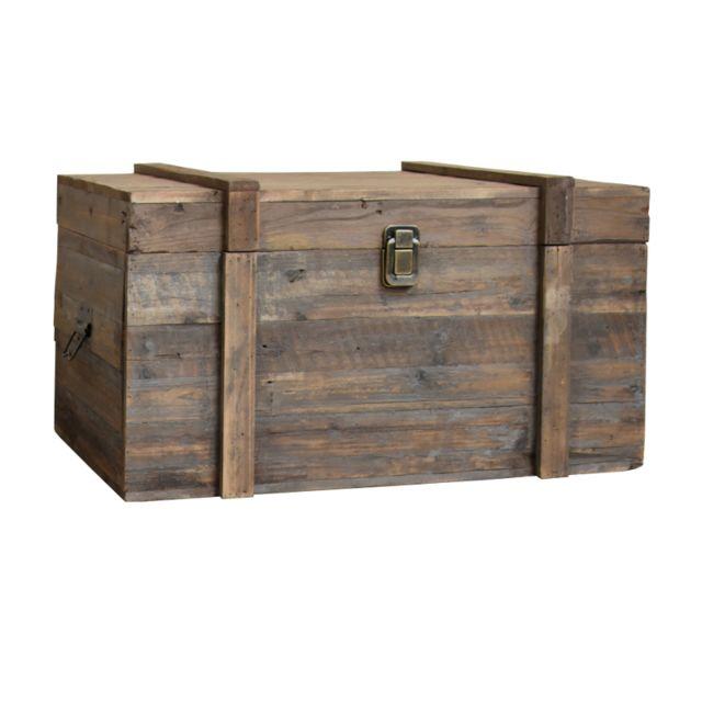 l'originale deco  style ancien coffre malle en bois de