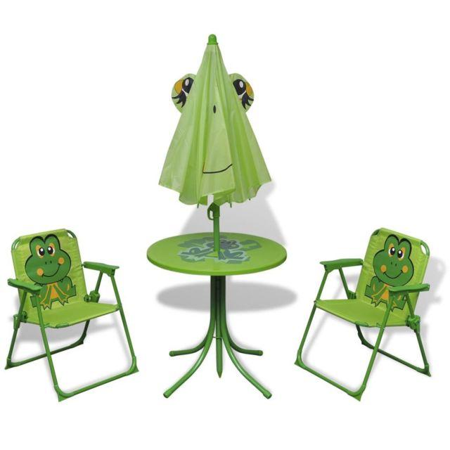 Icaverne - Ensembles de meubles d'extérieur collection Jeu de bistro avec parasol pour enfants Vert