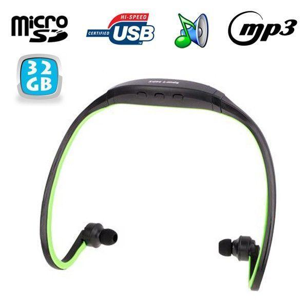 Yonis - Casque Mp3 sport sans fil lecteur audio running vélo vert 32 Go