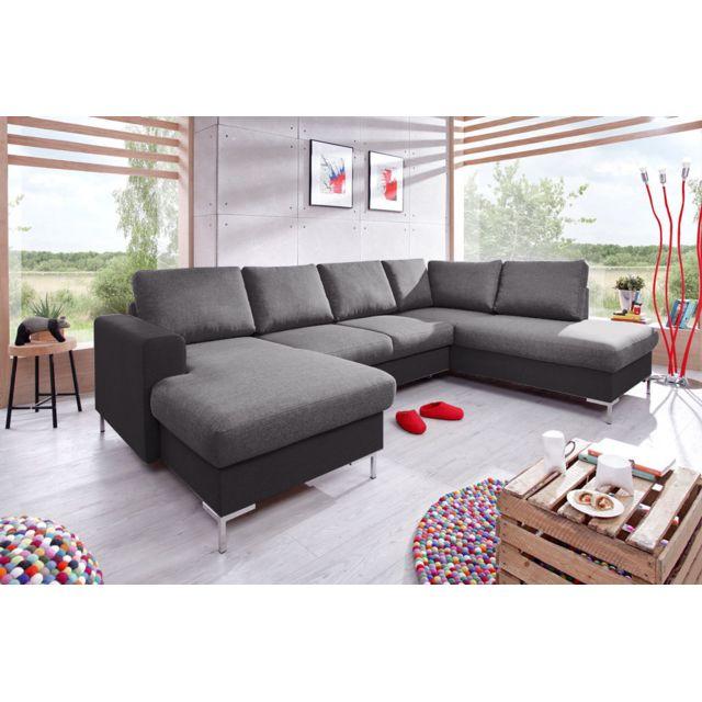 bobochic lilly canap d 39 angle panoramique en tissu angle droit couleur noir gris achat. Black Bedroom Furniture Sets. Home Design Ideas