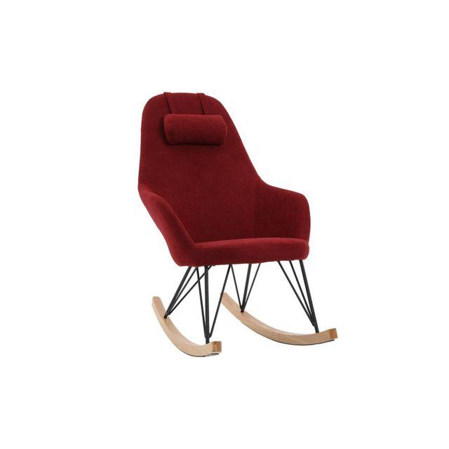 Miliboo Rocking chair en tissu velours bordeaux avec pieds métal et frêne Jhene