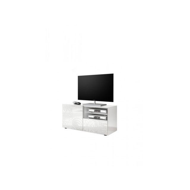 Subleem Meuble Tv petit 1 porte 1 tiroir Serle blanc laqué brillant