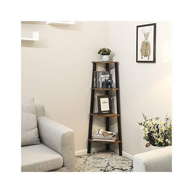 Étagère d\'angle Vintage, Meuble de Rangement pour Bureau à 4 étages,  Bibliothèque d\'angle, pour la Maison, Le Salon, la Chambre, Le Balcon,  Vintage, ...