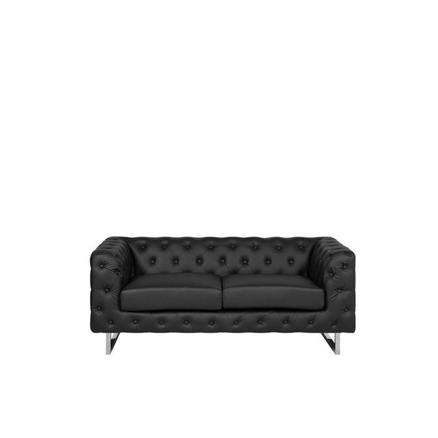 BELIANI Canapé 2 places en simili-cuir noir VISSLAND - noir