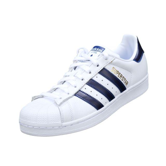 f42a15be4458 Adidas - Superstar B41996 Blanc   Marine - pas cher Achat   Vente ...