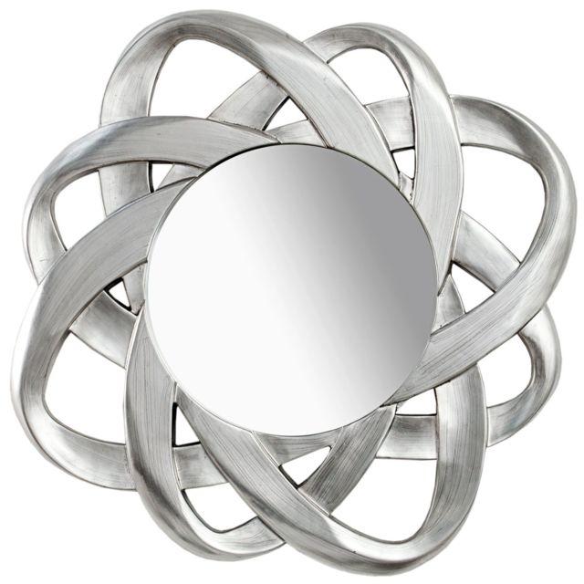 COMFORIUM Miroir design 90 cm en polyrésine coloris argent