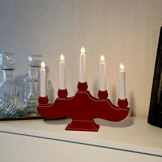 Xmas Living Glass Hanna - Chandelier Bois rouge 5 bougies à ampoules H27cm - Lampe à poser designé par