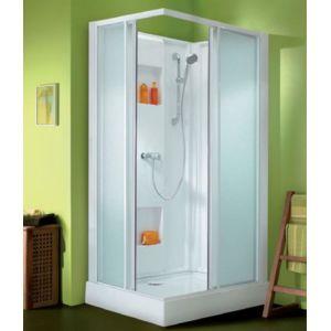 leda cabine de douche izi box rectangle portes coulissantes verre transparent 100 x 80 cm. Black Bedroom Furniture Sets. Home Design Ideas