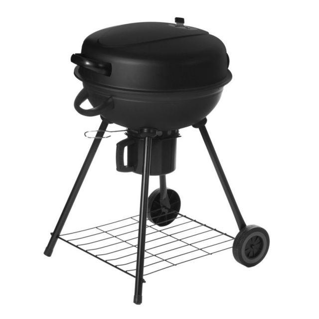 Ma Maison Mes Tendances - Barbecue à charbon rond avec couvercle 2 roues noir - L 54 x l 57 x H 92