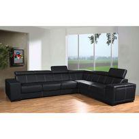 Meublesline - Canapé d'angle Caaria avec têtières en simili cuir noir design