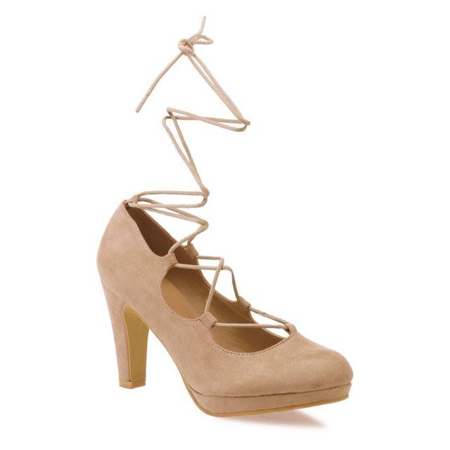 acheter populaire 45902 543a0 Lamodeuse - Escarpins à plateforme beige à lacets - pas cher ...