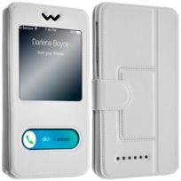 Avizar - Étui Smartphones : Longueur entre 127 mm et 132 mm et double fenêtre - Blanc