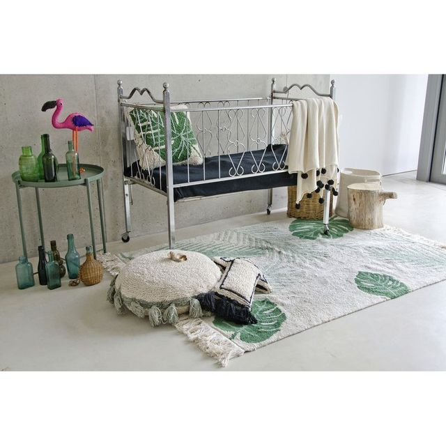 Lorena Canals Tapis Tropical Vert rectangle en coton lavable par - Couleur - Vert, Taille - 140 x 200 cm