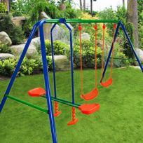 Rocambolesk - Superbe Portique balançoire 3 agrés 2 balançoires 1 face à face enfants jouets jardin Neuf
