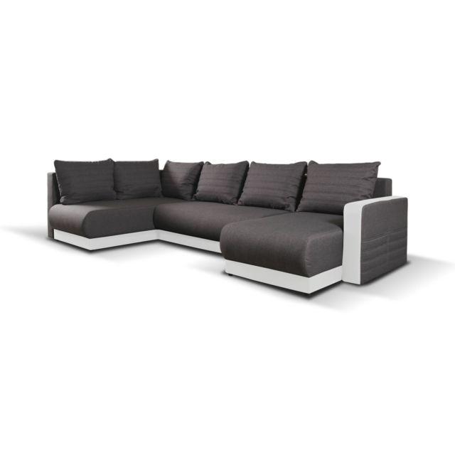 BESTMOBILIER Lewis - Canapé d'angle panoramique en U moderne - 7 places - Convertible avec coffre de rangement - Gauche Couleur - Bla